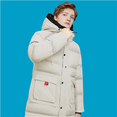 Thick cargo flap pockets hooded coat