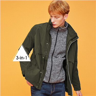 Graphic polyester filled detachable hood 3 in 1 jackets