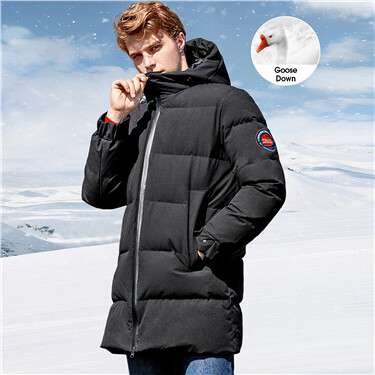 Mid-long hooded 90% grey goose down jacket
