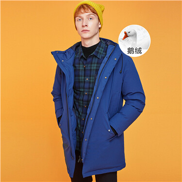 Thick mid-long grey goose down jacket