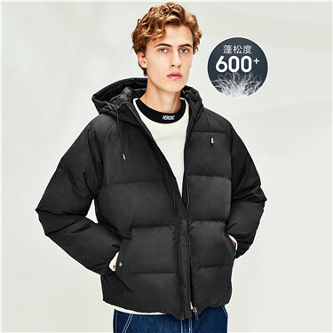 Machine washable hooded 90% duck down jacket