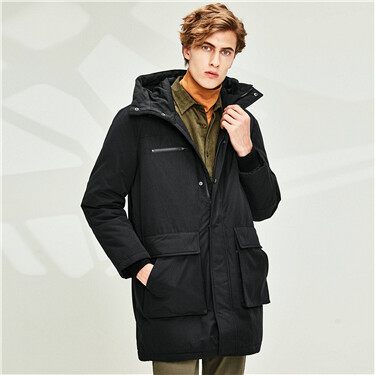Multi-pocket 90% grey duck down jacket