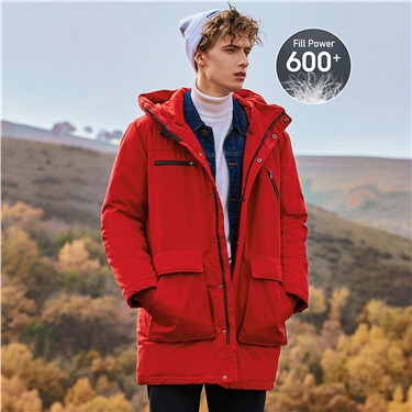 Multi-pocket 90% grey duck down jacket