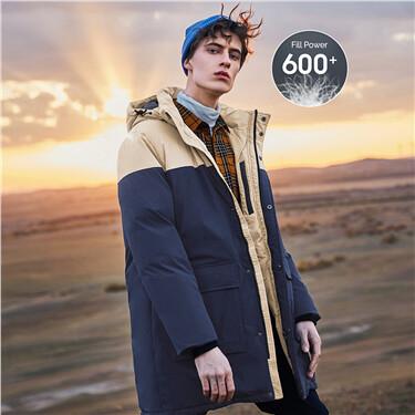 Contrast detachable hooded 90% grey duck down jacket
