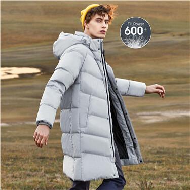 Mid-long detachable hooded 90% grey duck down jacket