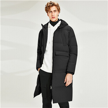Thick hooded long white duck down jacket