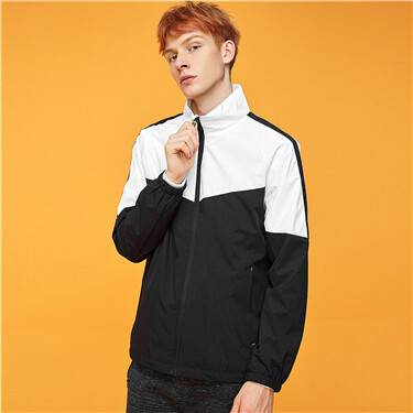 Stand collar contrast color windbreaker