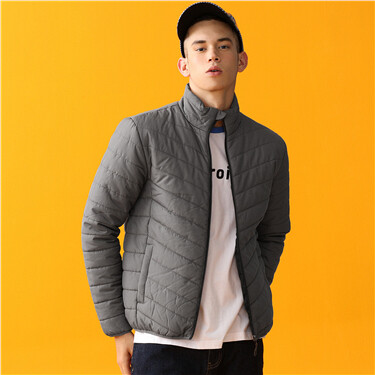 Solid stand collar quilted coat