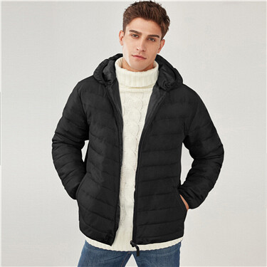 Solid hooded quilted coat