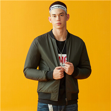 Stand collar slim quilted bomber jacket