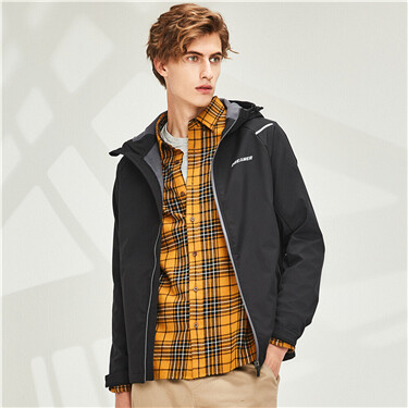 Graphic fleece-lined hooded jacket