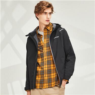 Graphic fleece-lined hooded ja