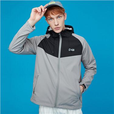 Windproof polar fleece hooded jacket