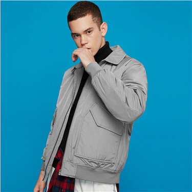 Flap pockets turn-down collar quilted bomber jacket