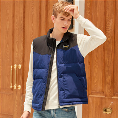 Embroidery stand collar contrast quilted vest