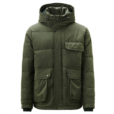 Hooded long-sleeve cargo quilted coat