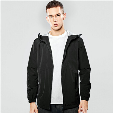 Contrast lining long-sleeve windbreaker