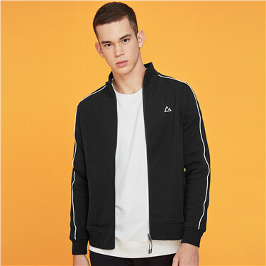 Contrast stand collar sporty jacket