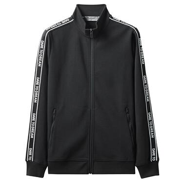 Interlock contrast stand collar jacket