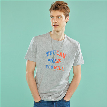 男裝棉質圓領標語印花T恤