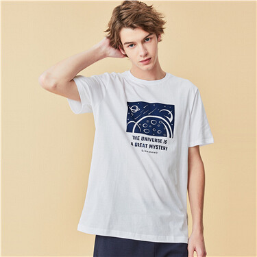 Printed space pattern short-sleeve tee