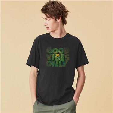 Printed cotton round neck short sleeve T-shirt