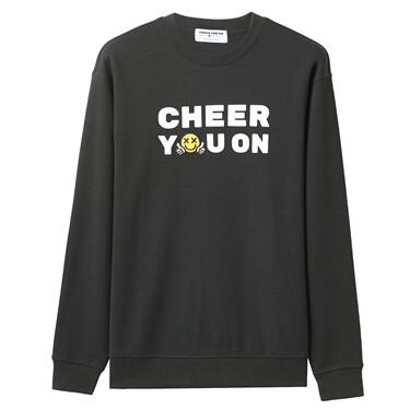 男裝 Cheer you on 圓領長袖印花套頭衫