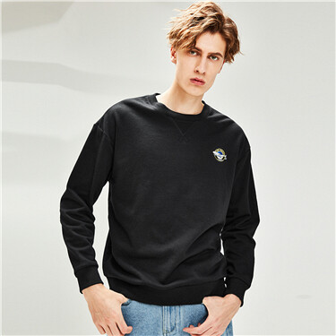 Printed badge dropped-shoulder sweatshirt