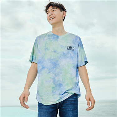 Cotton Tie-Dye Printed Round Neck Short Sleeve T-Shirt
