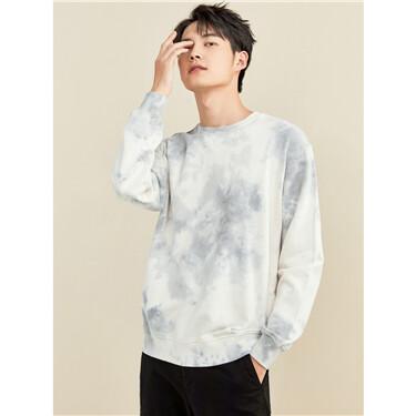 Tie-dyed crewneck loose sweatshirt