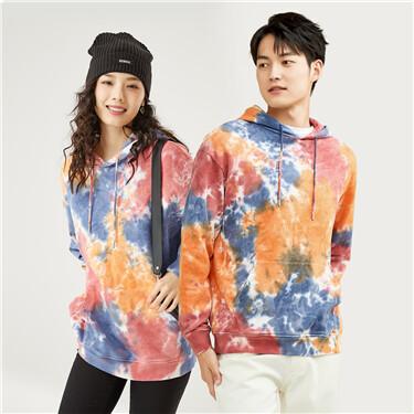 Tie-dyed kanga pocket hoodie
