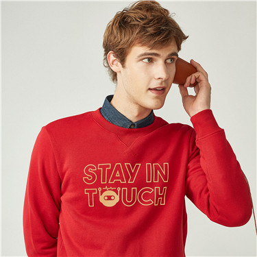 STAY IN TOUCH printed fleeced sweatshirt