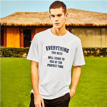 男裝純棉復古刺繡印花寬版T恤