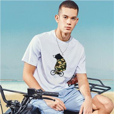 BOB迷彩系列印花圆领短袖T恤