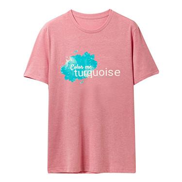 字母印花純棉圓領短袖T恤