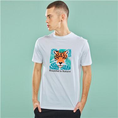 动物字母图案圆领短袖T恤