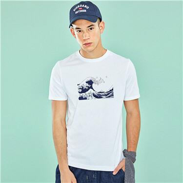 Men Cotton Jearsy Crew Neck Slim Print Tee