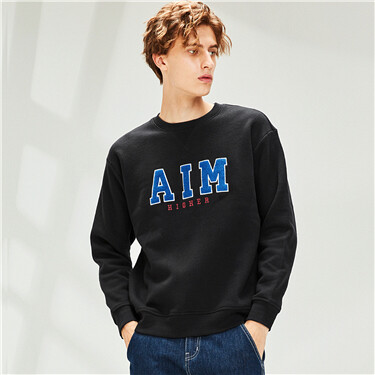 Embroidery fleece-lined crewneck sweatshirt