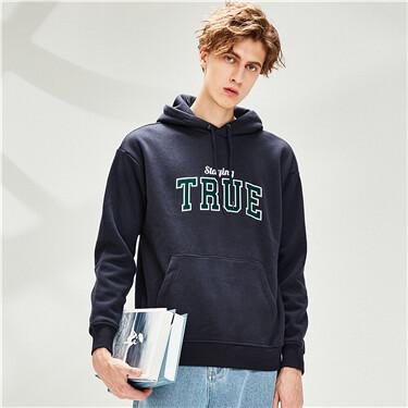 Embroidery fleece-lined crewneck hoodie