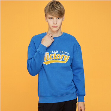 Embroidery fleece-lined loose sweatshirt