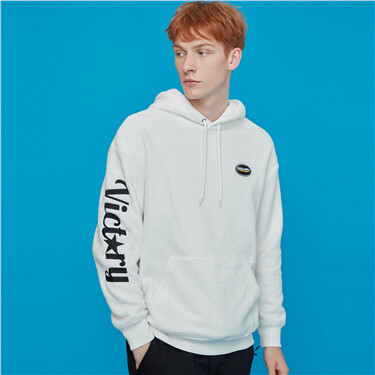 Graphic fleece-lined kanga pocket hoodie
