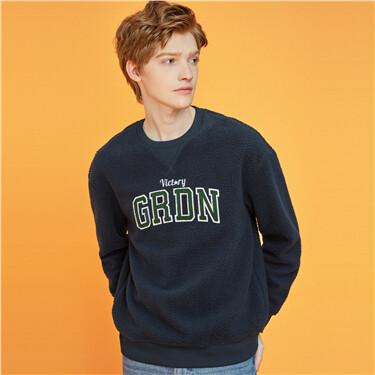 Letter polyester berber crewneck sweatshirt