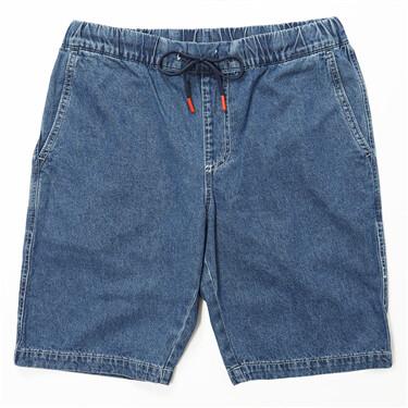 男裝純棉輕薄抽繩鬆緊腰牛仔短褲