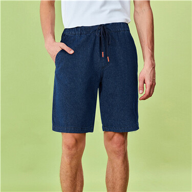 Elastic waistband cotton lightweight denim shorts