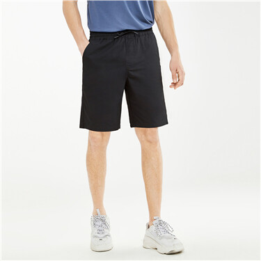 Solid color elastic waistband shorts