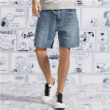 PEANUTS Denim Shorts for Men
