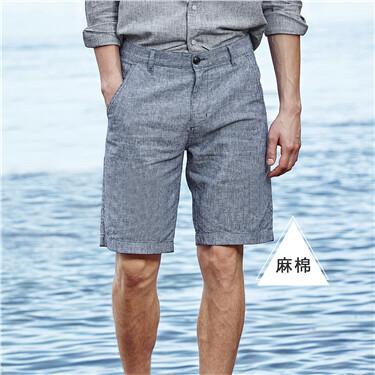 Linen-cotton stripe shorts