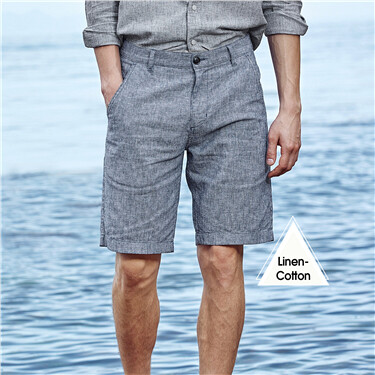 Linen-cotton stripe shorts