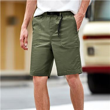 Lightweight elastic waistband casual cargo shorts