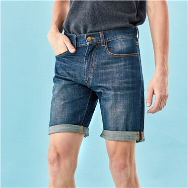 Roll-up cuffs thin denim shorts